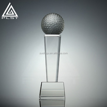 Big size tall unique golf ball trophies sport award crystal golf sport trophy