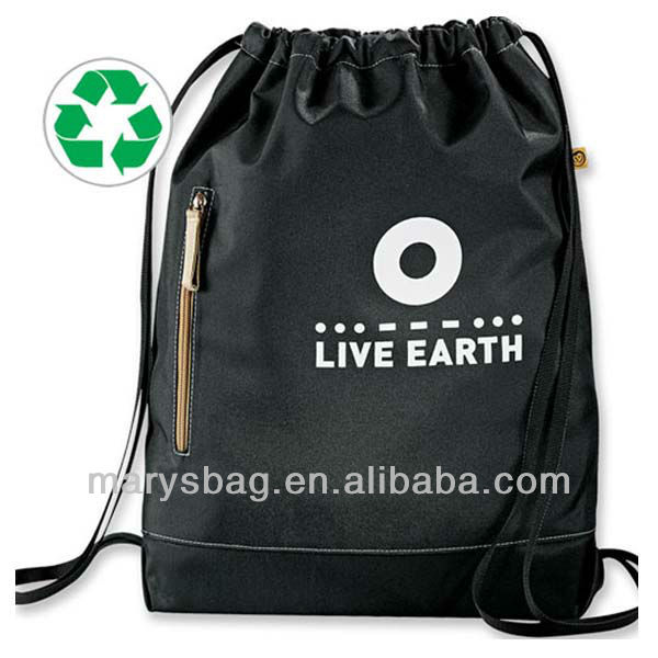 eco 51% owl cinch bag made from 51% post-consumer recycled material with cinch closure