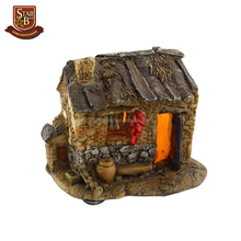 Hot sale southern style fairy garden natural resin fairy house with light outdoor dec