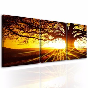 3 Panels Sunset Tree Wall Art Picture on Canvas with Stretched over Wood Frames Ready to Hang for Living Room