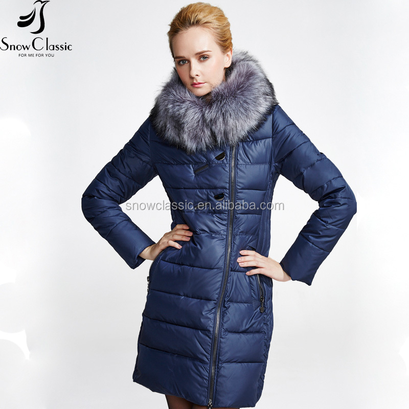 Latest fashion design winter long cotton-padded parka jacket for women