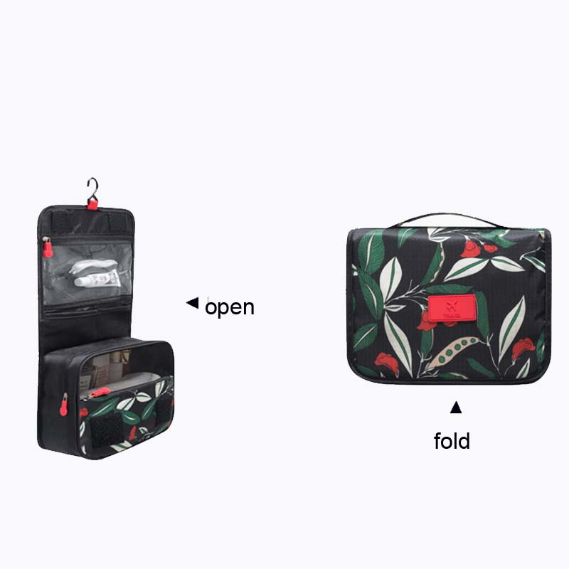 Women fold travel cosmetic bag with hanger lady business trip toiletry makeup bag multifunction cosmetic bag light weight OEM
