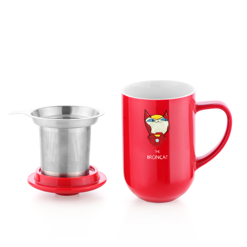 glaze tea cup with stainless steel infuser OEM