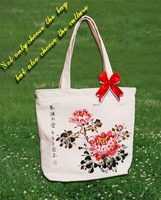 2014 hand-painted peony canvas gentility women shopping bag cotton shopping bag white bag
