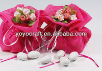 Yarn design candy bags with ribbon for holidays party favor from YOYO crafts