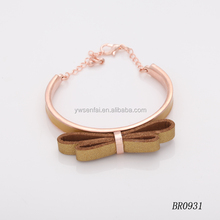 2016 Wholesale fashion gold jewelry custom brown color leather bowknot bracelet