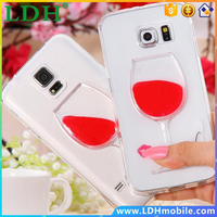 Note3/4/S5/S6 Fundas Ultra Thin 3D Wine Glass Liquid Back Cover For Samsung Galaxy S5/ S6/ Note 3/Note 4 Clear Accessories Case
