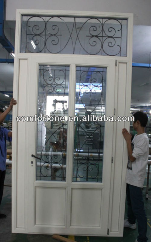 Iron glass aluminum wood door design