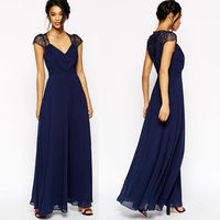 Lace shoulder design sexy V neck long dress navy blue maxi evening dress
