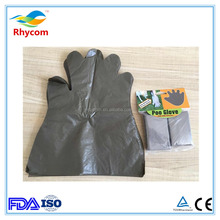 FDA,CE,ISO certificated Dark brown Disposable environmental PE dog poop mittens/gloves with Long,flaired cuff for easy removal