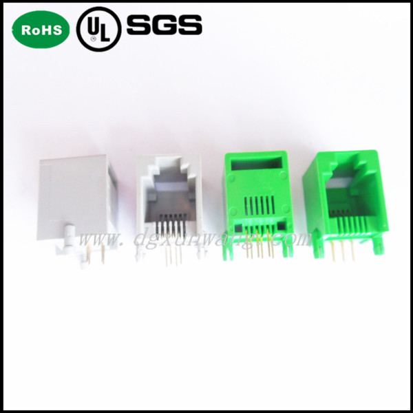 side entry 4p4c mini low profile tab up pcb jack rj11 rj12 female connector