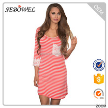 Casual Design Crochet Lace Applique Coral Striped Long Sleeve Cheap Mini Dress 2017
