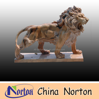 Sunsight red marble lion statue NTBM-L025