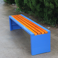 Street furniture backless wooden outdoor park bench with steel frame