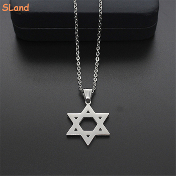 2017 Fashion Jewelry hollow-out star charm polished stainless steel star of david necklace pendant wholesale for Men Women