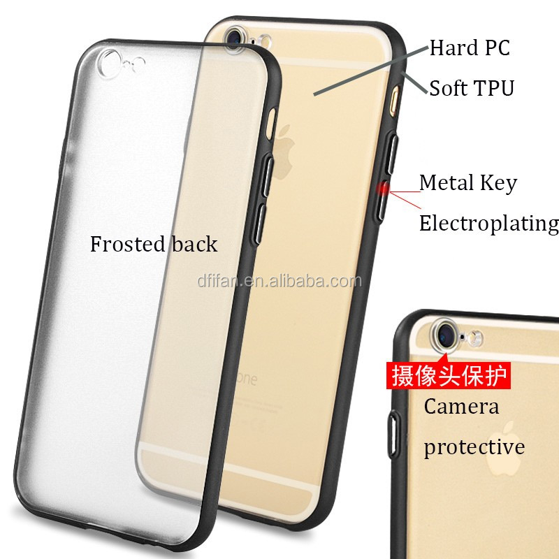 Perfect combination soft frame PC TPU Hybrid 2 in 1 phone case for iphone 5 6 7 plus
