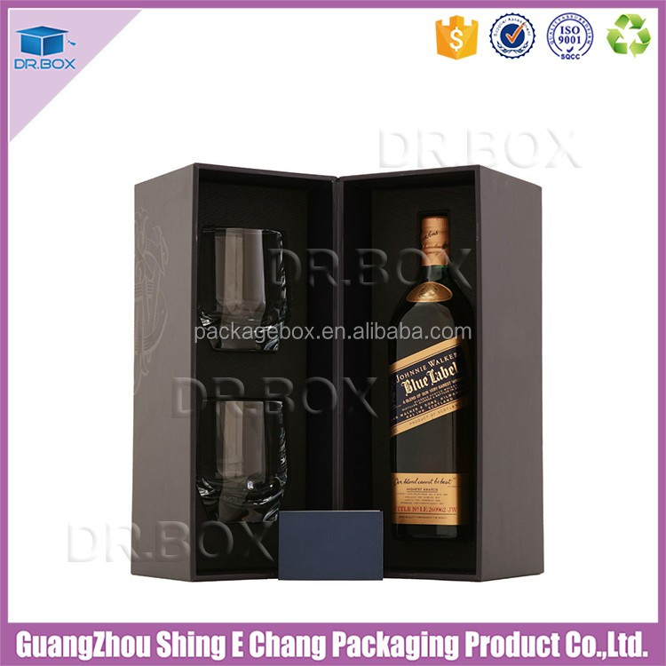 Foldable paper wine box packaging for wood wine box carrier
