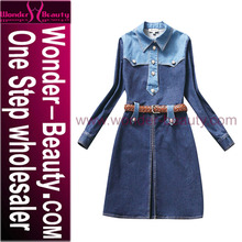 Fashion Casual Women Denim Skirt long sleeve blue jean dress W00065