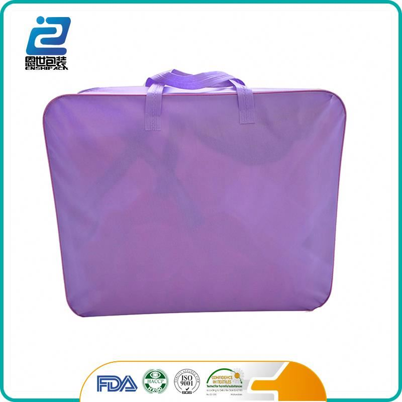 Clear pvc handle quilt cover packaging bags with zipper