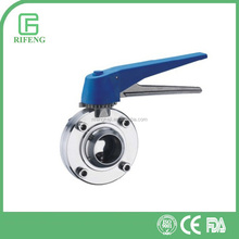Sanitary SS304/316L Welding Butterfly Valve Plastic/SS Multi-Position Handle