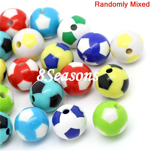 20PCs Mixed Soccer Sports Charm Round Acrylic Beads 20mm
