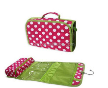 600D polyester hanging foldable travel toiletry bag,rolling beauty case