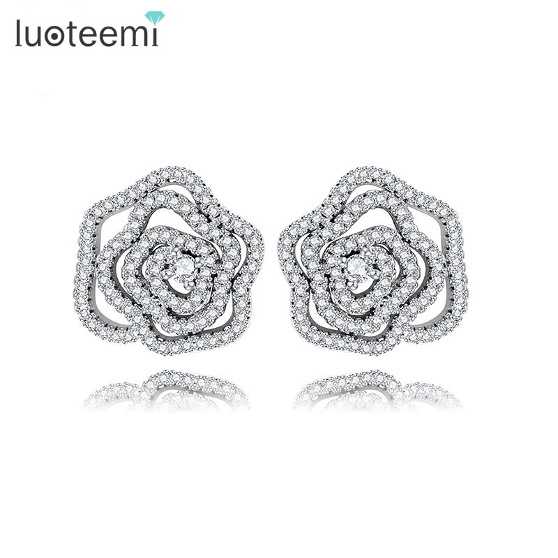 LUOTEEMI Wholesale New Jewelry <strong>18</strong> <strong>K</strong> White Gold Plated AAA CZ Diamond Hollow Rose Flower Stud Earrings