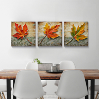 Gold Maple Leaf Picture Canvas Oil Painting for Home Decor 30*30cm