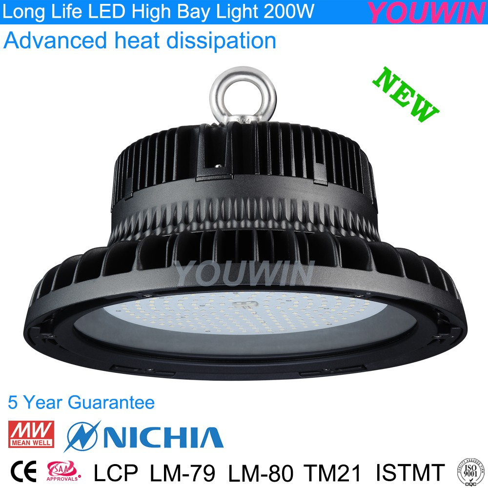 Ali08 Shenzhen Youwin factory Meanwell CRI>80 ce rohs saa c-tick ufo led high bay light 200w