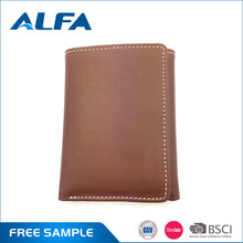 Alfa China Good Quality Vintage Brown Foldable Trifold Mens Top Cow Leather Wallet Purse