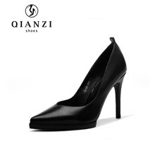 D044 Fashionable silver and black genuine leather dress shoes, platform pumps women heel