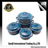 5pcs Hot sale enamel stainless steel cookware pot set/ soup pot stock pot