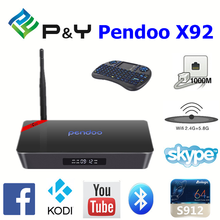 2017 New product Pendoo X92 S912 2G 16G dongle android With Good Quality 4K full HD KODI TV BOX