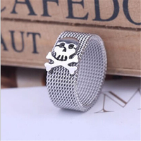 Yiwu Aceon Stainless Steel Mesh Band Skull Expand Ring