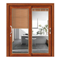 wooden color aluminium profile glass sliding doors and windows  with blinds