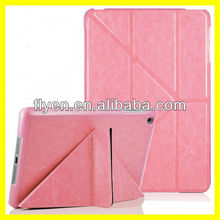 Deluxe Untra Slim Folding Case Cover for iPad mini Smart folded PU Leather Cases Covers for Apple iPad mini with Y Stand Pink