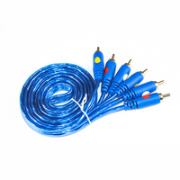blue color 3 RCA Male to 3 RCA Male Composite Audio Video AV Cable Plug 3X RCA Retail Wholesale