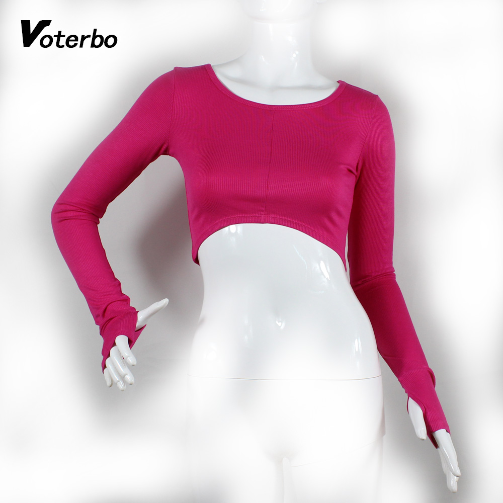 Spring Autumn Women <strong>O</strong>-neck Long Sleeve Sports Crop Top Fitness Gym Clothing Casual T Shirts Stretch Breathable Running