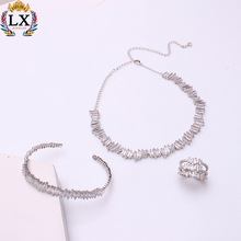 NLX-01191 zircon wedding gemstone african jewelry sets design silver necklace cz stone rhinestone crystal fashion jewelry set