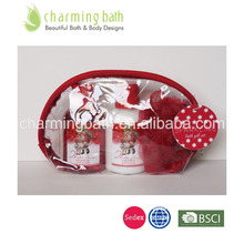 bath gift set in red cosmetic bag christmas set