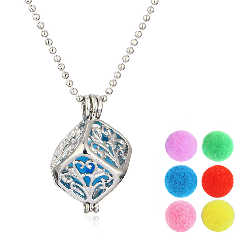 MUB Hot sale wholesale square essential oil diffuser necklace , hollow out and with 6 color cotton ball locket necklace