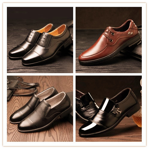 Small mOQ plus size casual classtical Spring Summer Autumn winter pig leather lining rubber insole material dress shoes men