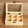 6 compartments wooden tea bag jewelry organizer chest storage box with glass top