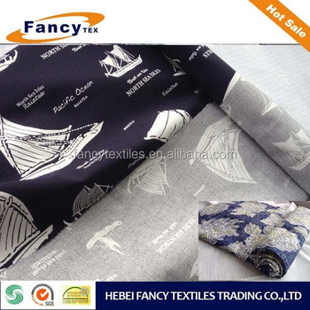 Summer seson light weight White sailng printing pure cotton100%Cotton PRINT FABRIC for SHORT PANTS