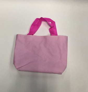 Pink Polyester Printed Small Mini Tote Bags