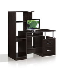 Italian Style Modern Table Design Office Wooden Computer Desk with Bookshelf Storage Cabinet