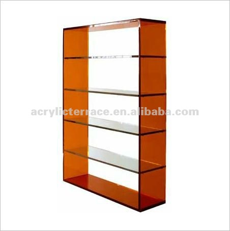 5 tier red and clear acrylic perspex bookcase