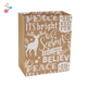 Christmas Elk Pattern Convenient Carry Shopping Brown Kraft Gift Paper Bag