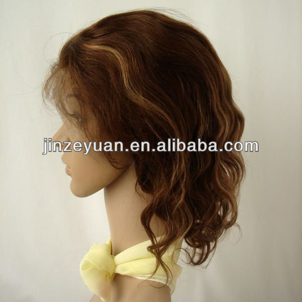 Short hair highlight color Mongolian virgin hair front lace wig with baby hair