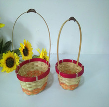 bamboo handicraft basket storage with handle ,factory direct price